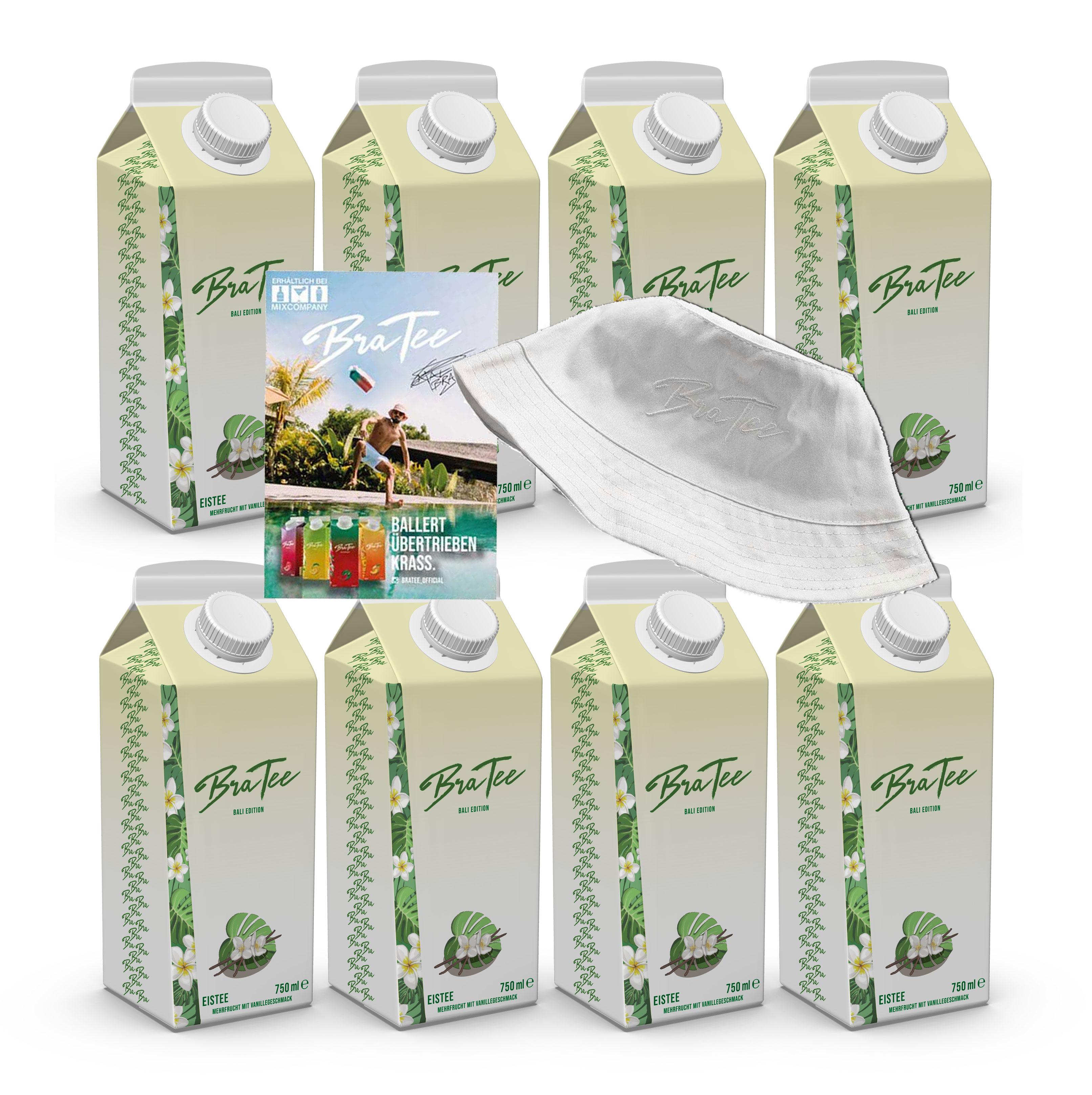 Capital BraTee Bali Edition 8er Set Special Eistee je 750ml + Autogrammkarte und Hut BRATEE Limited Edition Ice tea Mehrfrucht mit Vanillegeschmack mit Capi-Qualitäts-Siegel - Du weisst Bescheid