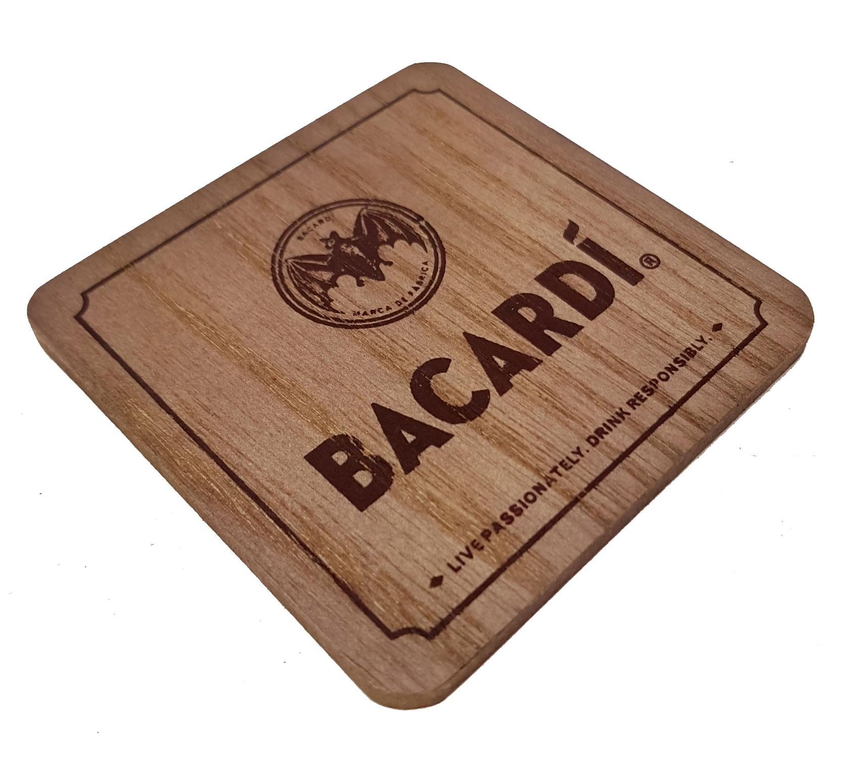 2x Bacardi Holz-Look Untersetzer Bierdeckel Verschiedene Muster