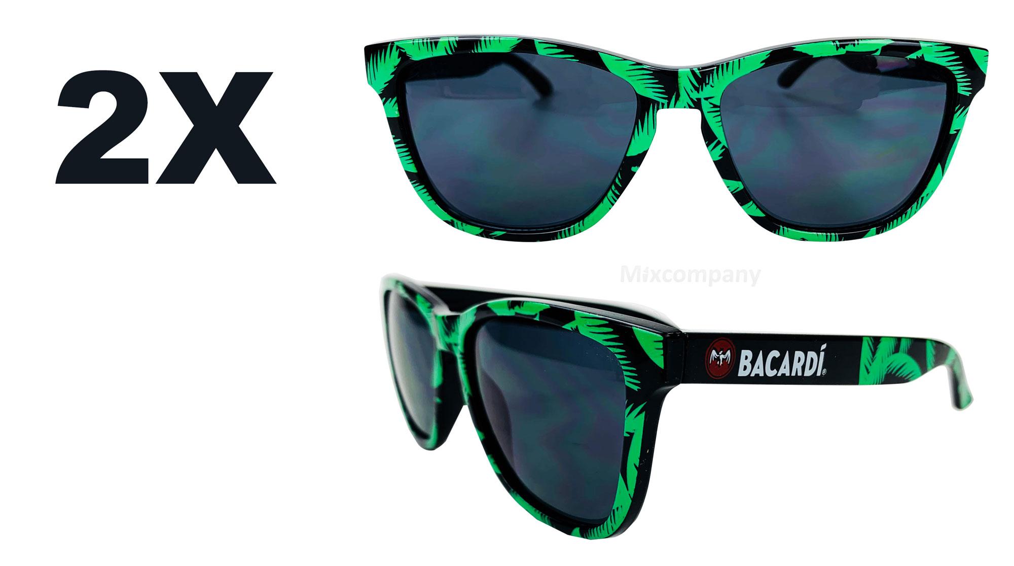 Bacardi Rum Nerd Sonnenbrille mit Palmenmuster grün UV400 Set - 2 Stück Unisex Retro Vintage Style Party Festival Bar