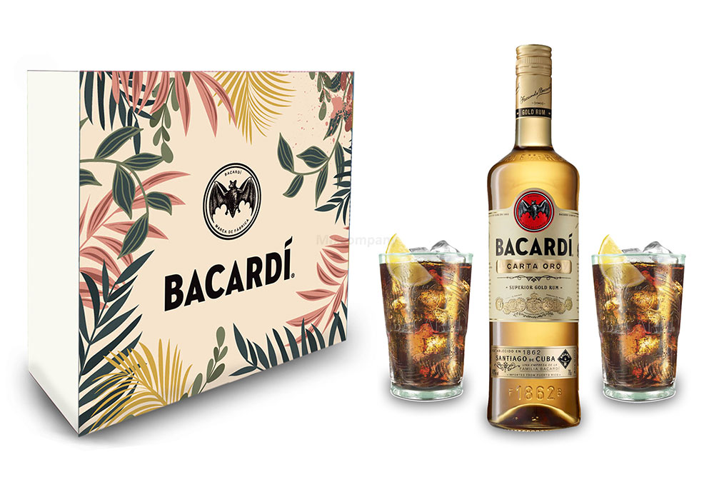 Bacardi Geschenkset - Bacardi Carta Oro Gold Rum 0,7l (40% Vol) + 2er Set Gläser - Longdrink Glas- [Enthält Sulfite]