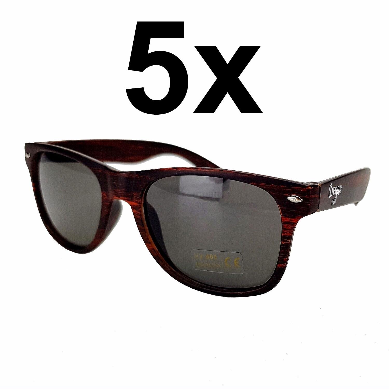 Sierra Cafe Sonnenbrille Nerd Brille mit UV 400 Schutz - braun Aktion - 5 Stück