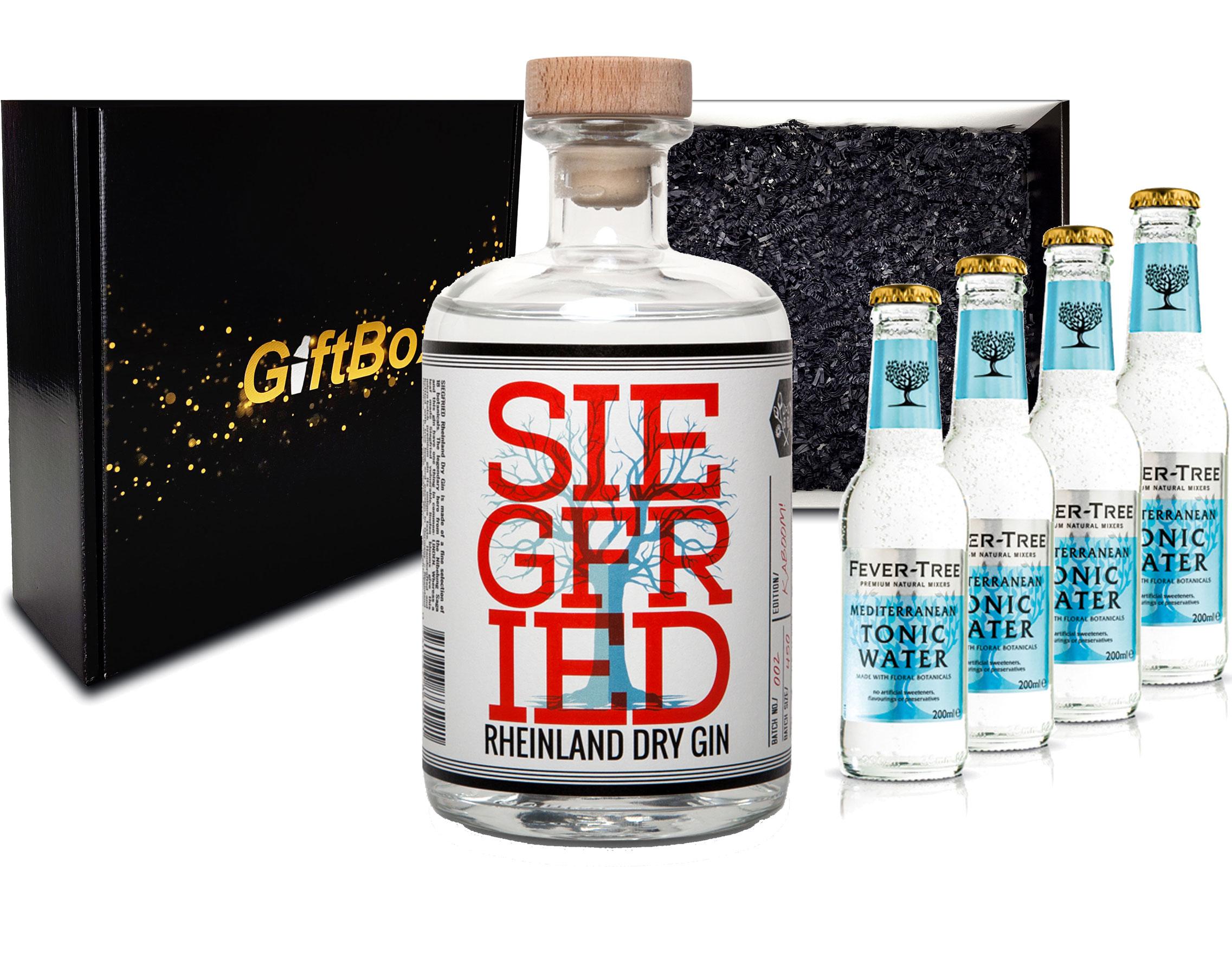 Gin Tonic Giftbox Geschenkset - Siegfried Rheinland Gin 0,5l (41% Vol) + 4x Fever Tree Mediterranean Tonic Water 200ml inkl. Pfand MEHRWEG + Geschenkverpackung
