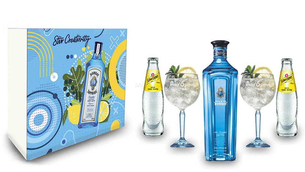 Star of Bombay Tonic Geschenkset - Star of Bombay London Dry Gin 0,7l (47,5% Vol) + 2er Set Ballon Glas + 2x Schweppes Tonic Water 200ml inkl. Pfand MEHRWEG - [Enthält Sulfite]