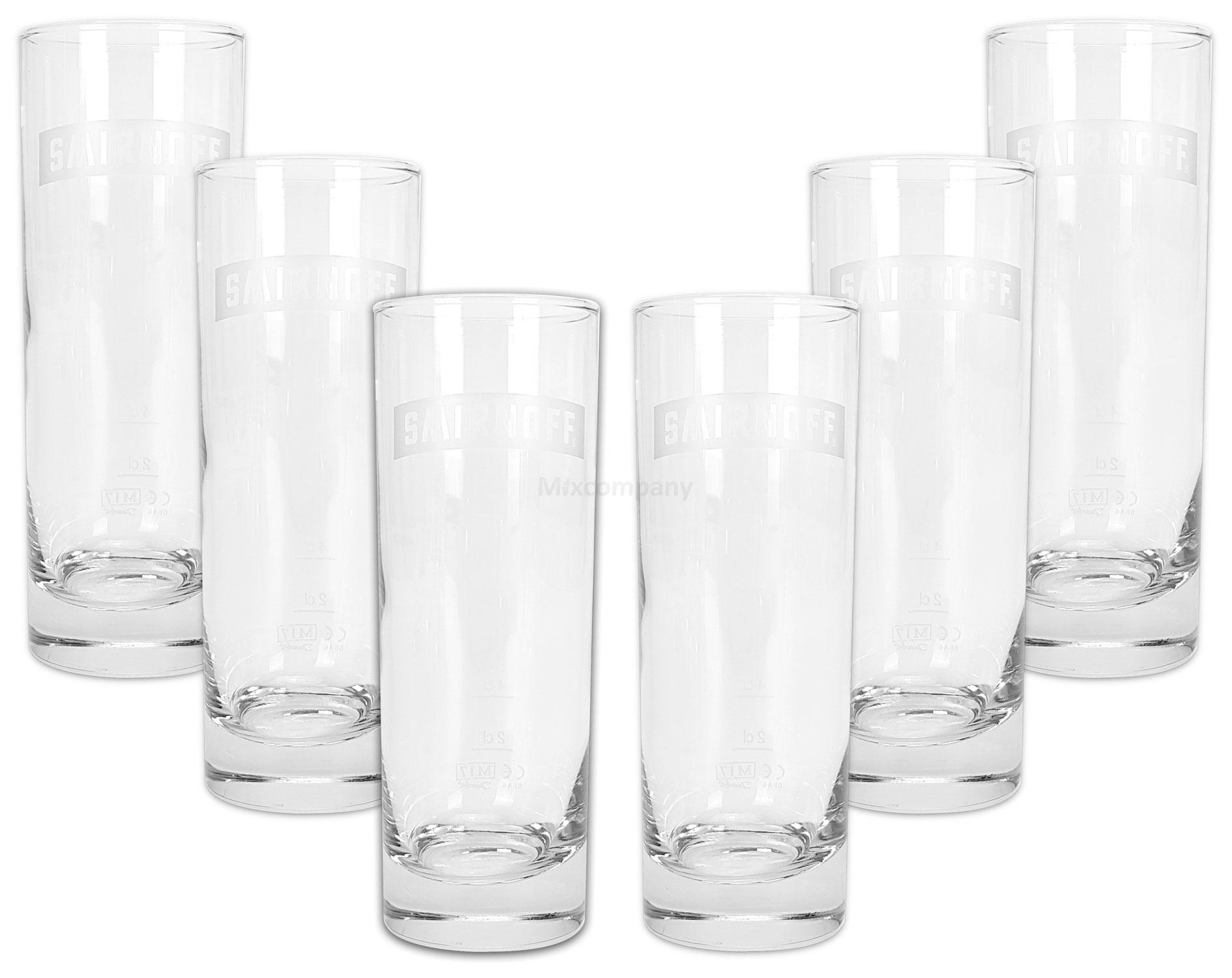Smirnoff Vodka Cocktail Longdrink Glas Gläser Set - 6x Longdrinkgläser 2/4cl geeicht