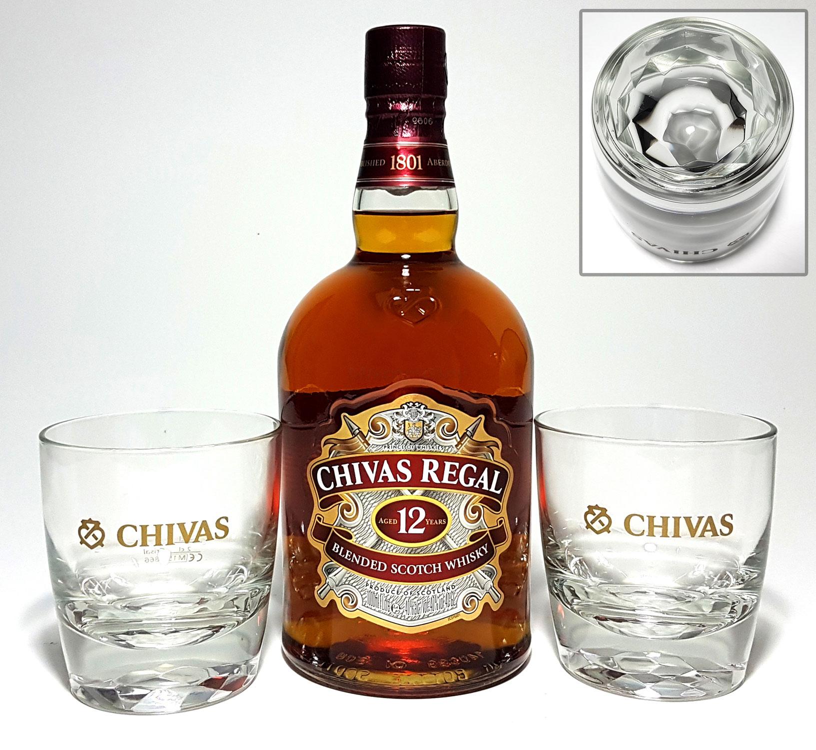 Chivas Regal 12 Jahre Blended Scotch Whisky 1L (40% Vol) + 2x Tumbler mit Diamanteinfassung