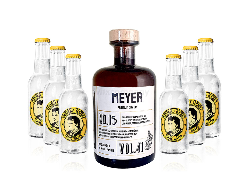 Mein Gin - Meyer Premium Dry Gin 0,5l (41% Vol) - Meyer s Gin No.13 + 6x Thomas Henry Tonic Water 200ml inkl. Pfand MEHRWEG -[Enthält Sulfite]