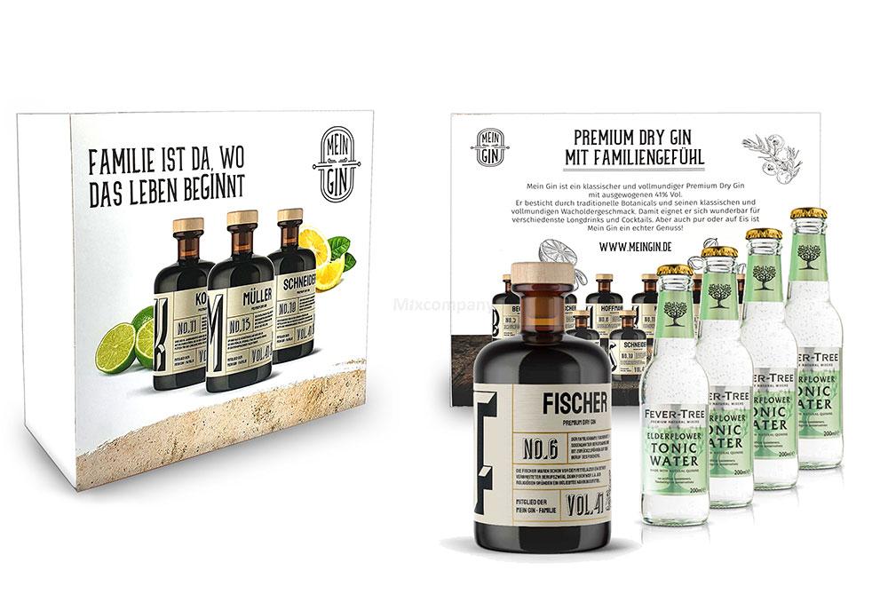 Mein Gin + Tonic Giftbox Geschenkset - Fischer Premium Dry Gin 0,5l (41% Vol) - Fischer s Gin No.6 + 4x Fever-Tree Elderflower Tonic Water 200ml inkl. Pfand MEHRWEG -[Enthält Sulfite]
