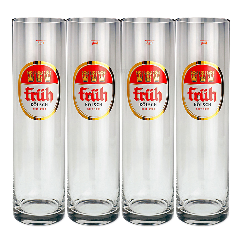 Früh Kölsch Biergläser / Gläser / Stangen Set - 4x 0,2l