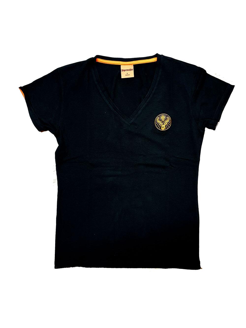 Jägermeister Damen Tshirt in schwarz mit V Ausschnitt in L