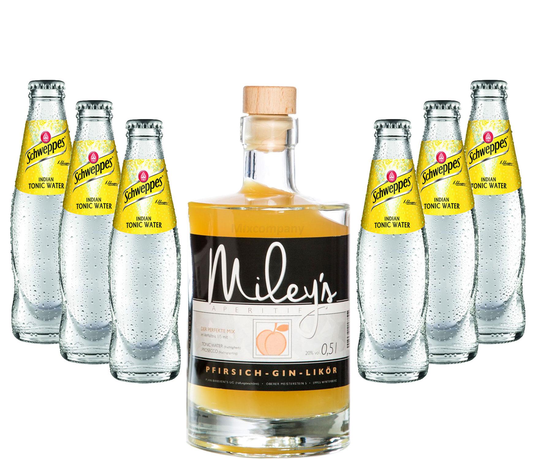 Mileys Pfirsich Gin Likör 0,5l (20% Vol) + 6x Schweppes Tonic Water 200ml inkl. Pfand MEHRWEG -[Enthält Sulfite]